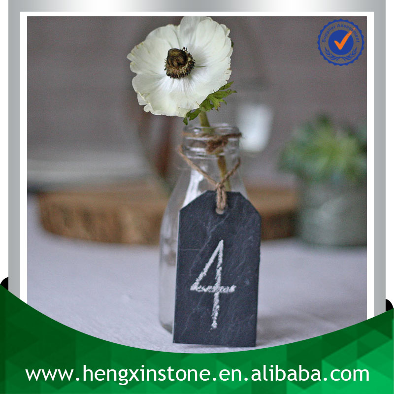 Factory Direct Wholesale Handmade 9*5*0.5cm Black Hanging Slate Stone Seat Number Tag Plant Sign