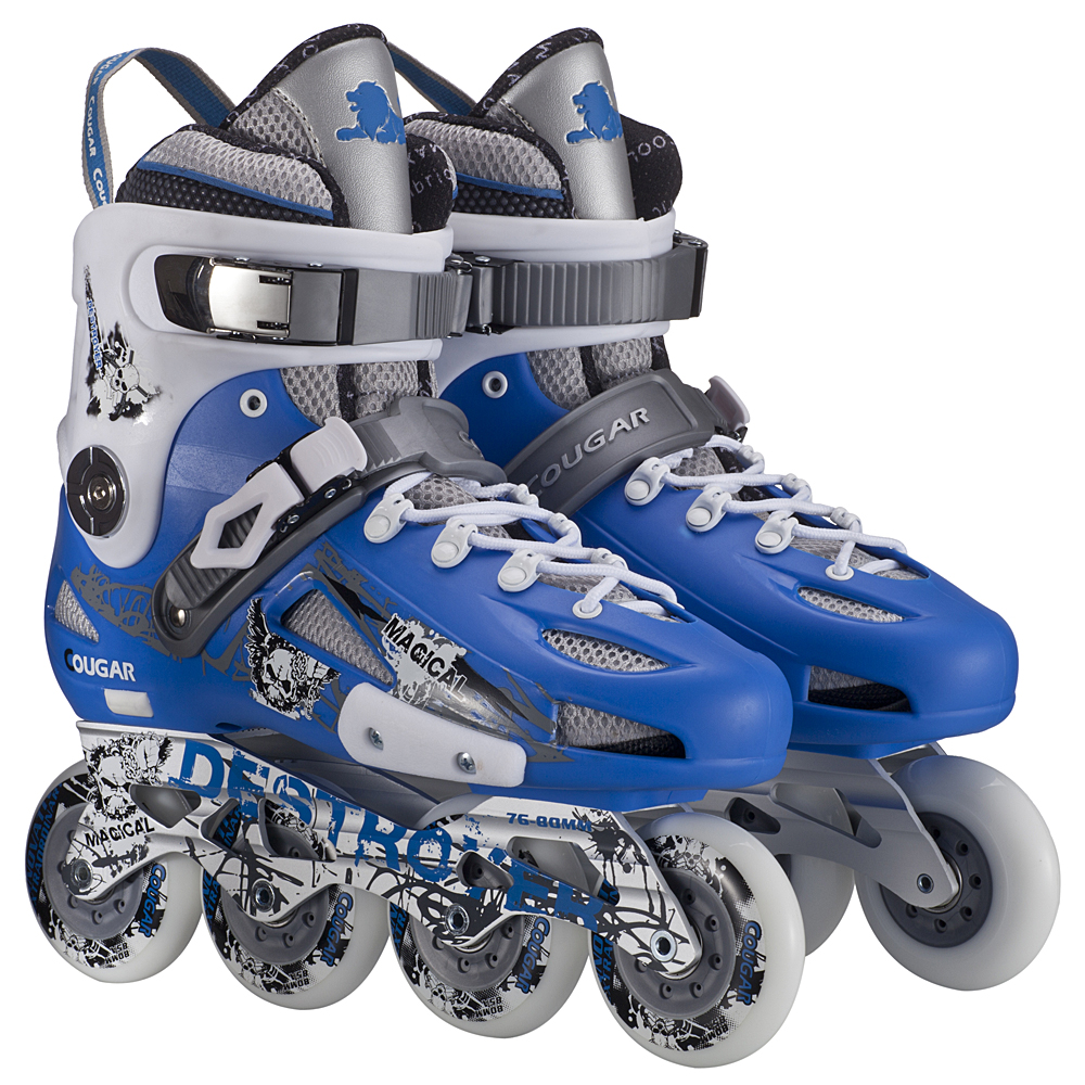 The adult and younger street inline slalom skate