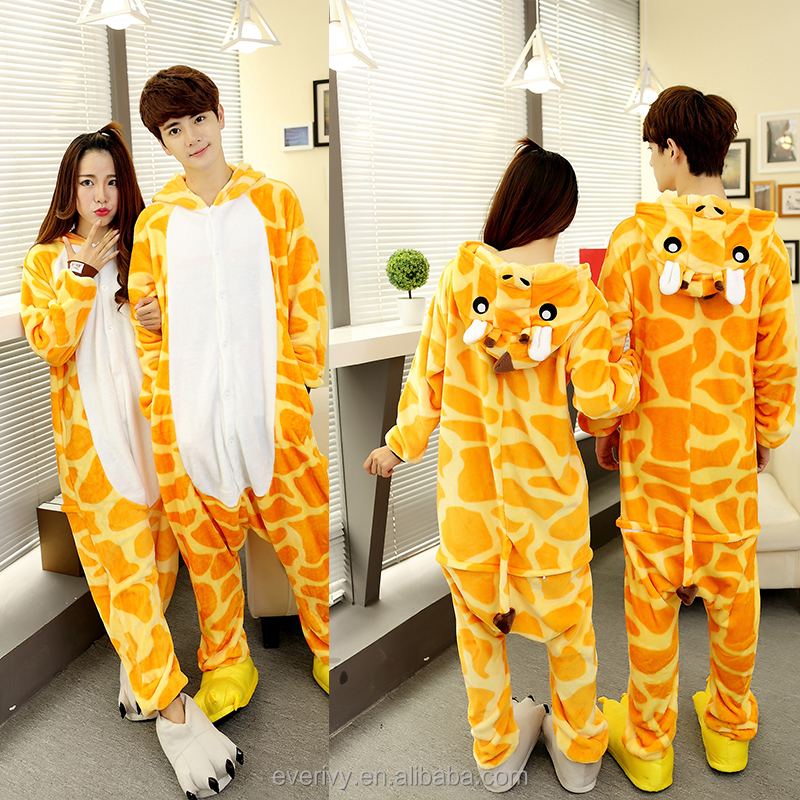 Wholesale adult onesie pajamas with drop seat super soft flannel giraffe animal adult pajamas