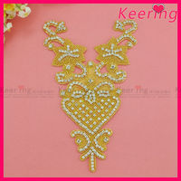 Gold backing beaded clear rhinestone applique bridal motif WRA-536