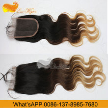 Factory Wholesale 2016 1B4T27 Body Wave Light Brown Lace Closure 3.5X4Inch,4X4Inch,5X5Inch 8-24Inches In Stock