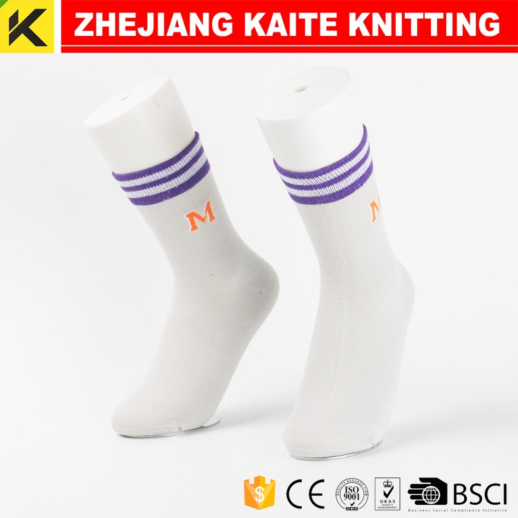 KT-0128 mens white cotton crew socks