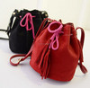 European most popular style female housemouth brand bags cord drawstring edging barrel cross body bags