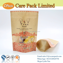 Natural kraft paper stand up pouch with zipper and window