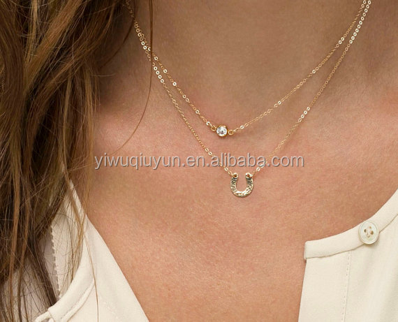In Stock Ebay Hot Selling Horseshoe Gold Plated Double Layer Necklace