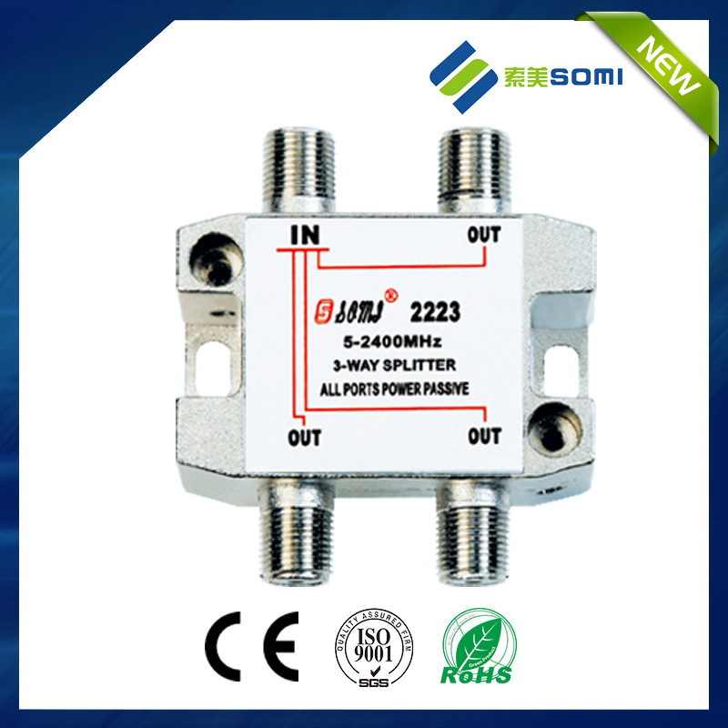 Best selling high quality 3 way indoor satv signal splitter