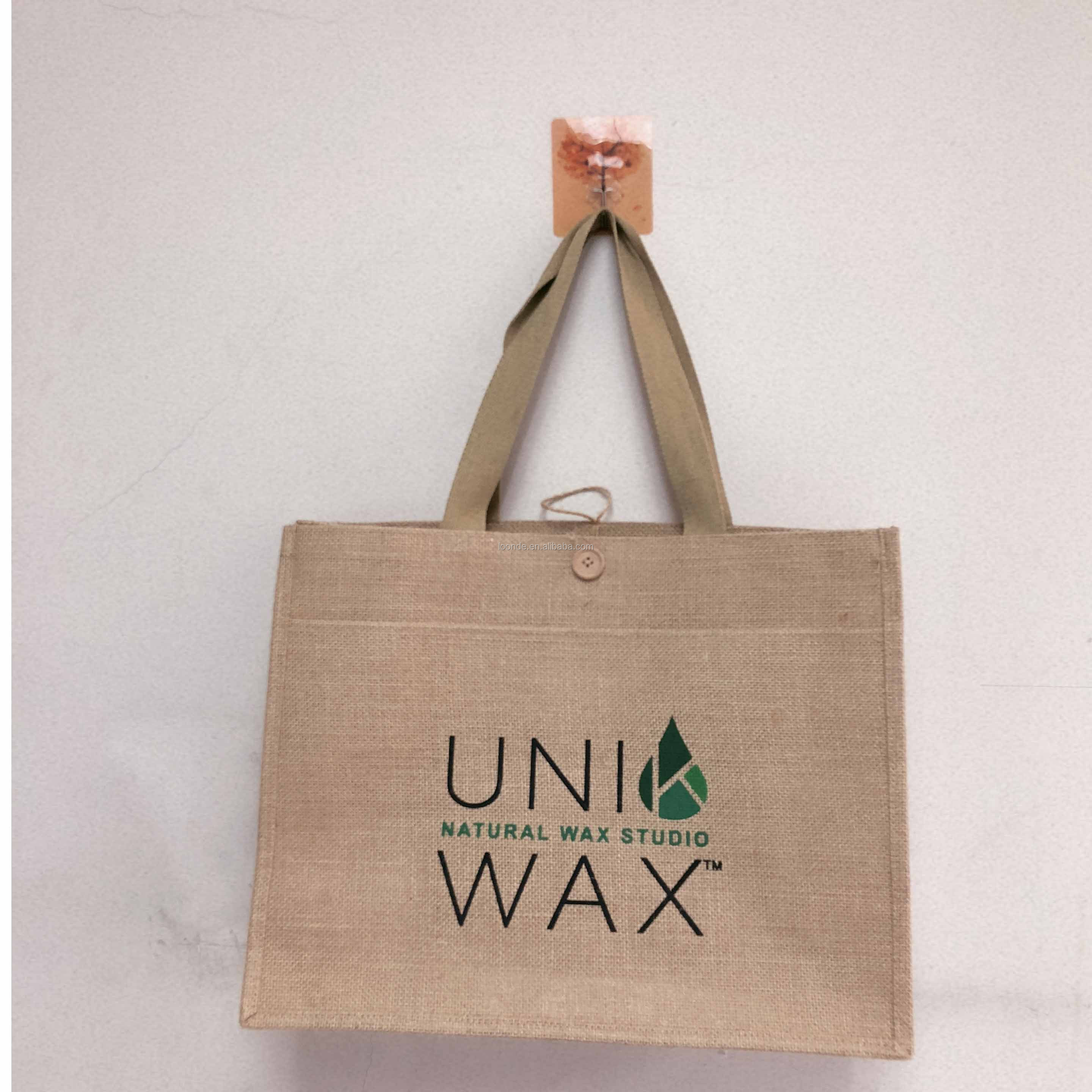 promotional Custom printing Eco nature heavy duty large grocery jute burlap tote bag