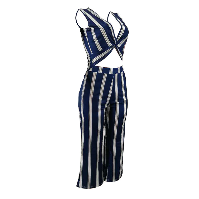 MOQ 1PC Hot V-neck sexy striped two-piece suit