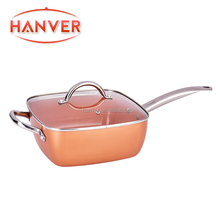"9.5"" non-stick Copper Chef Square deep fry pan with steamer ,roast rack"