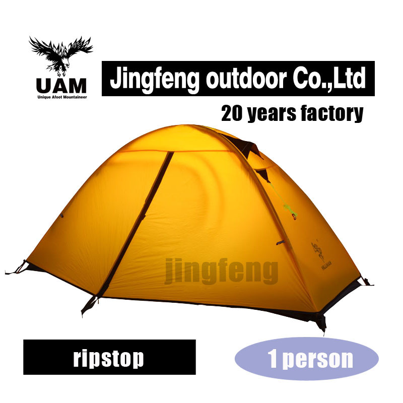 High quality light 1 person aluminum pole riding tent hiking tent