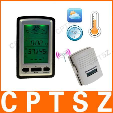 indoor and outdoor using digital wireless weather station with large LCD display+Clock /Temp/Humidity