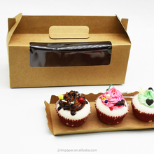 Decorative 3 Holders Cupcake Box Disposable Paper Cake Box
