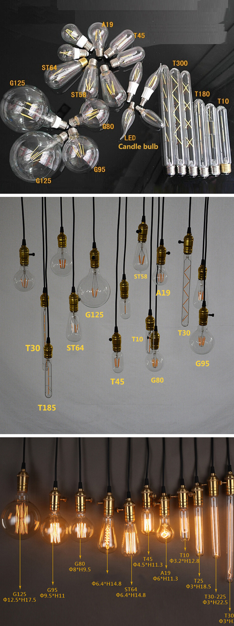 3000k Dimmable Edison Light Bulbs Vintage E27 4W LED Filament Bulb