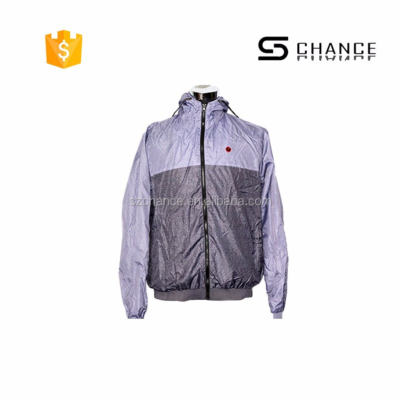 Cheap nylon windbreaker jacket with hood suit