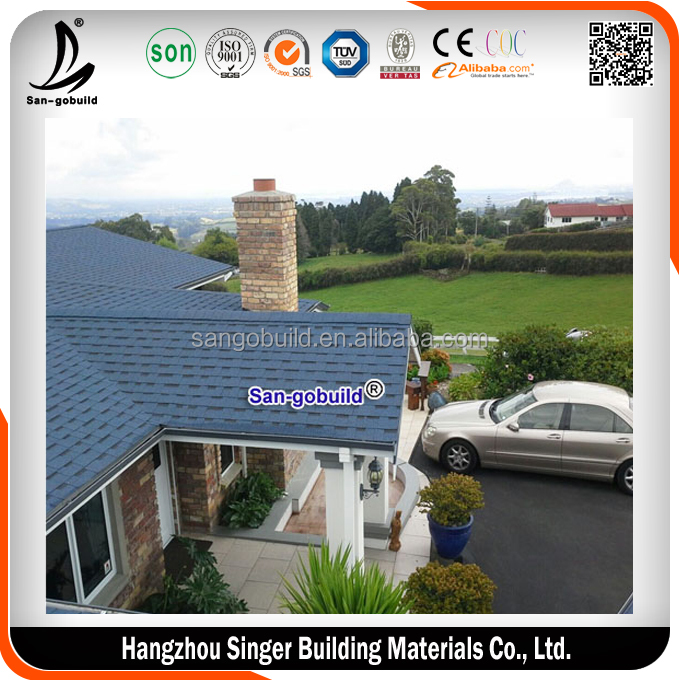 USA Approved Wholesale Price List of Lightweight Roofing Building Materials 3 tab Blue Asphalt Roofing Shingles Prices in India