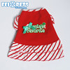 Lovable Pet Clothes Dress Striped Pattern Dog Christmas Party Dress Apparel for Cat
