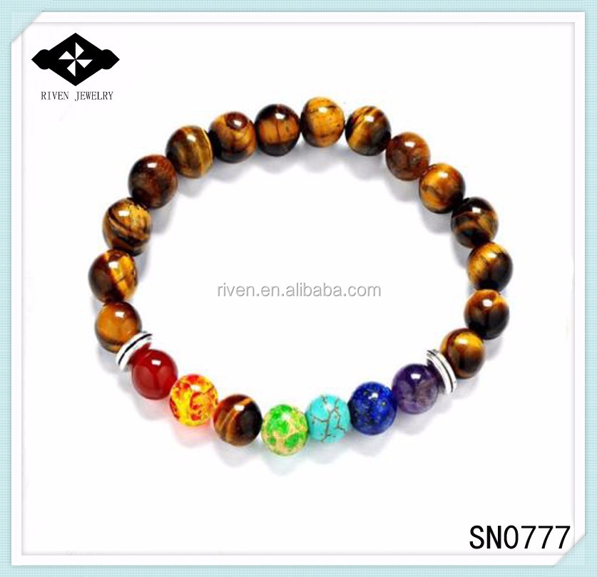 SN0777 Top Sale 7 Chakra Tiger eye beaded bracelet for Unisex Christmas New year gift Mala yoga Man healing stone beaded bracelet.jpg