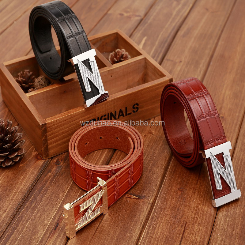 Hot Sale Wholesale 100% Cowhide Crocodile Stylish Belt For Man With Z Buckle