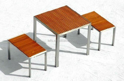 table Teak with stainless steel frame