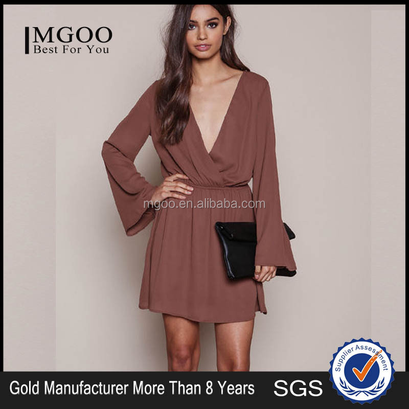 MGOO Popular Cheap Price Cut Out Dress For Women Woven Wrap Brown Puff Sleeves A Line Fashion Dress