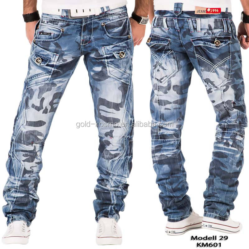 2017 KOSMOLUPO new style ripped cotton camouflage jeans pent men