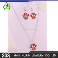 IMG 6365 Yiwu Huilin Jewelry Popular fancy Lovely dog PAWS pendant Jewelry Sets For ladies Necklace Earrings Jewellery Set