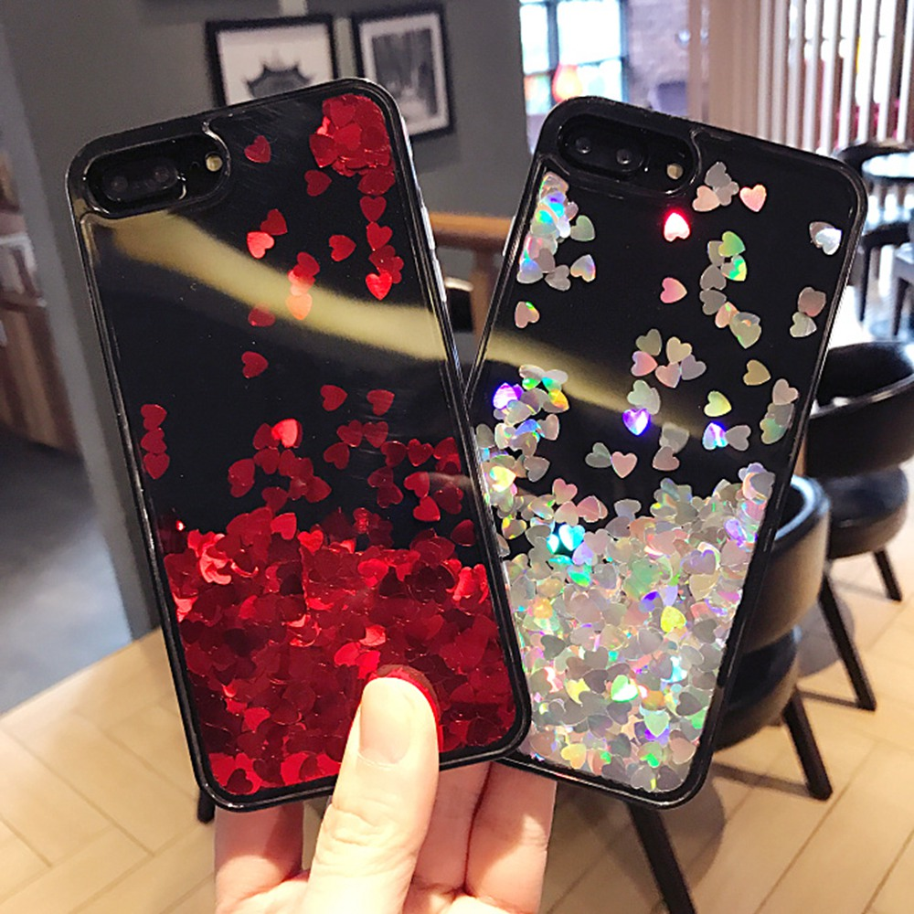 Hot selling luxury heart shape liquid hard acrylic mobile phone case for iPhone 6s 7 8 Plus X
