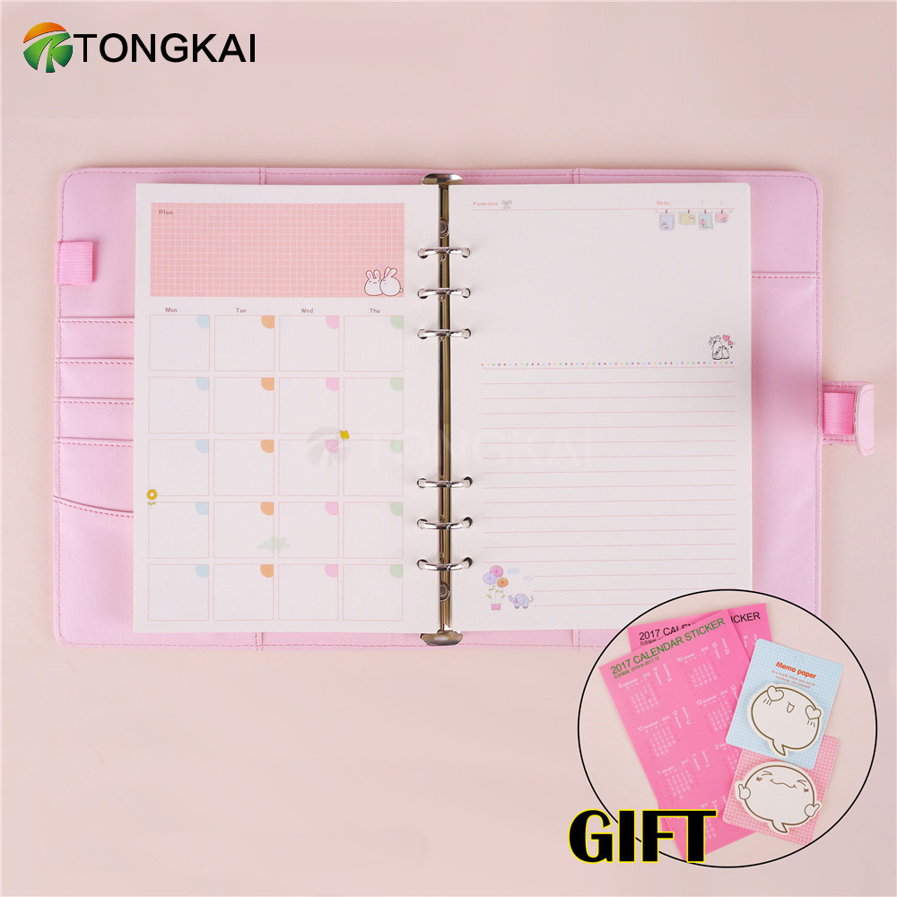 TongKai Cute Weekly Monthly Work Planner Book Diary Agenda Ring Binder