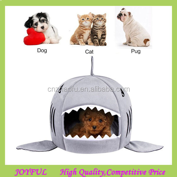 Hotting winter warm cartoon shark shape dog pet cave bed with removable cushion