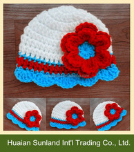 W-550 children baby lovely crocheted crochet christmas hat with knit flower beanie