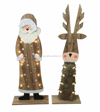Wooden christmas LED Santa/elk stand decoration