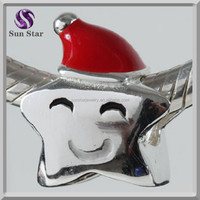925 sterling silver jewelry manufacturer Rodium plated Christmas Hat Lucky Star Charms for bracelet