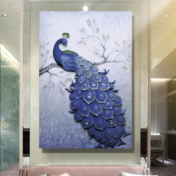 3D Handpainted Peacock photo Oil Painting Home Decoration