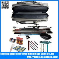 Durable organizer waterproof fishing rod bag with double strap travel leisure fishing bag