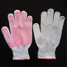 Antislip cleanromm Cotton Knit ladies working gloves with PVC Pink dotting