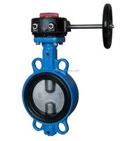 DN 100 PN16 WCB Disc Worm Gear Operation Wafer Type Butterfly Valves