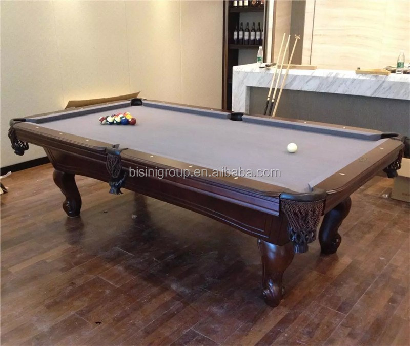 Home 8ft Solid Wood Pool Table Handcarved Antique Design Pool Table