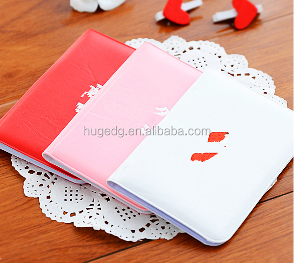Hot selling pu leather cover leisure sweet card holders with PP