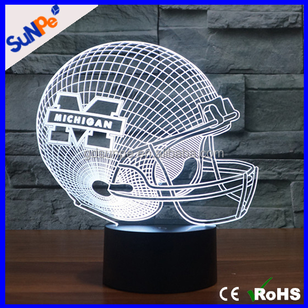 2017 Acrylic Led Rubgy Football Hat Helmet 3D Light Lamp with seven color light