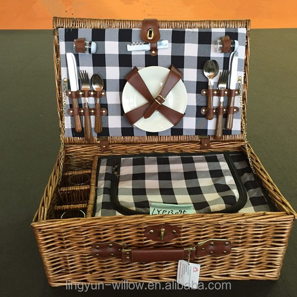 high quality cheap wicker picnic baskets wholesale with insulated bag