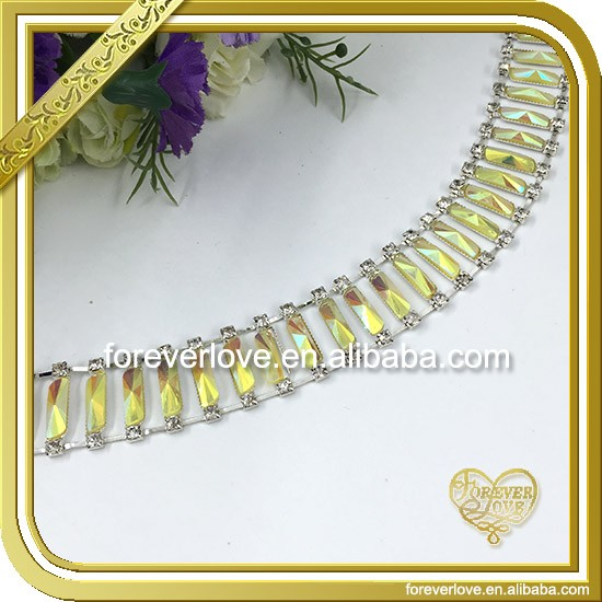 Yellow chandelier ab crystal beads rhinestone cup chain FC644