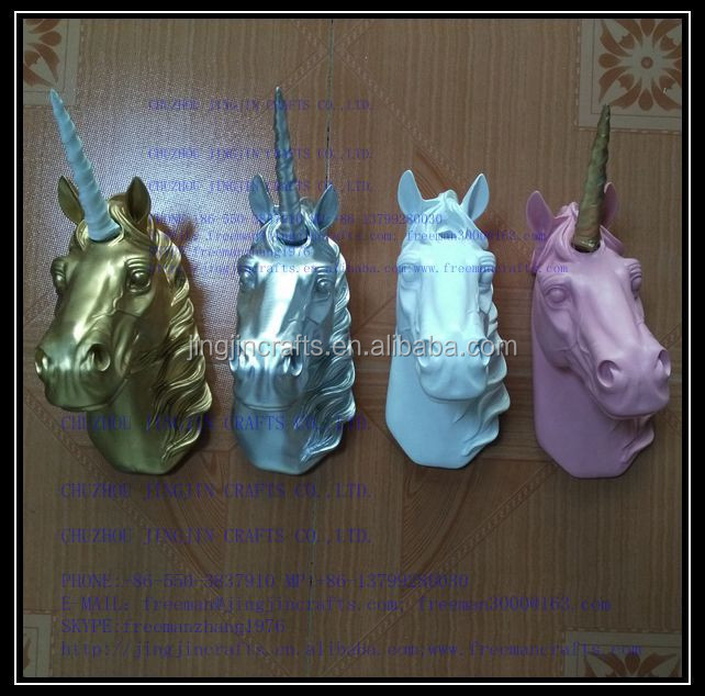green and pink resin 3d unicorn mounted animal head with gold glitter horn