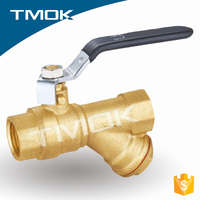 Throwing sand Brass filter ball valve with strainer/filter/percolator function Y strainer brass ball valve in China