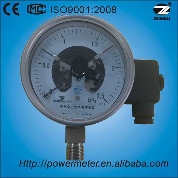(YX-100)100mm NPT standard thread wika pressure gauge with electric contact