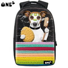 ONE2 design cute 3D dog pattern Custom travelling laptop school backpack