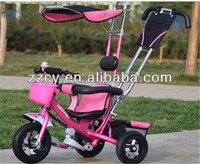 2016 popular children tricycle/stroller/carrier for baby/children ride-on toy with Pushbar Canopy EVA tire