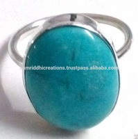Fashion Blue Turquoise 925 Sterling Silver Bezel Setting Ring, Online Silver Jewelry, Wholesale Gemstone Rings