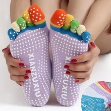 YOUME 2017 Hot Sale Womens 5-Toe Colorful Yoga Socks Lady Gym Non Slip Massage Toe Socks Female Full Grip Activing