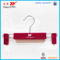 rubber paint plastic pants hanger with rotating hook and adjustable clips
