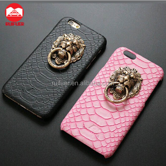 2016 New Retro Snap On Snake Pu Leather Skin With Stand 3D Lion Head Knocker Metal Ring Stand Case for Iphone 6 6s Plus